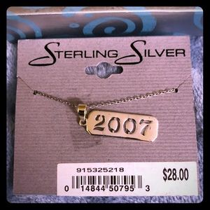 "Jewelry - NWT Sterling Silver Necklace with ""2007"" Pendant"